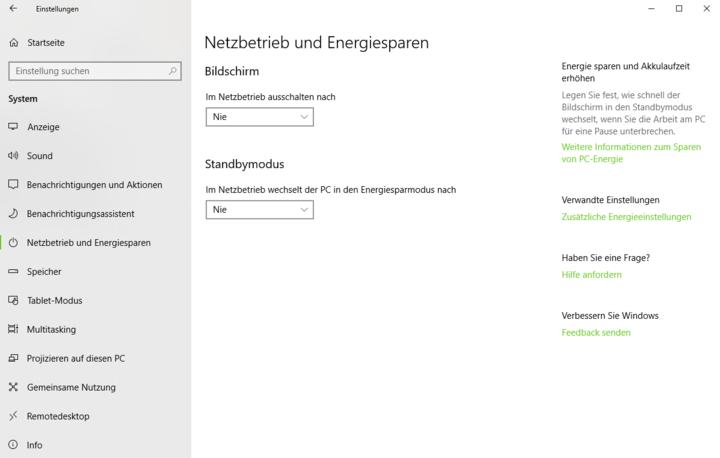 """""""Windows 10"""" verfügt über Energiespar-Optionen."""