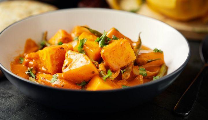 Süßkartoffel-Kürbis-Eintopf.