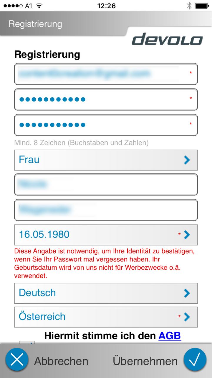 Ein Screenshot der Home Control App