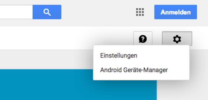 Den Android Geräte Manager auswählen.