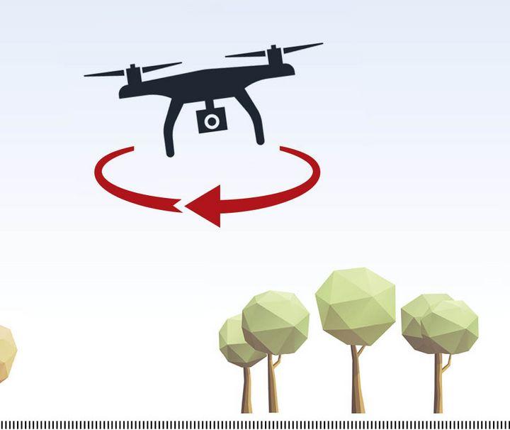 Mit der Drohnen einen Kreis fliegen.