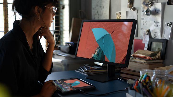 Dank des neuen USB-C-Anschlusses kann das leistungsfähige Tablet mit einer Vielzahl von externen Geräten verbunden werden