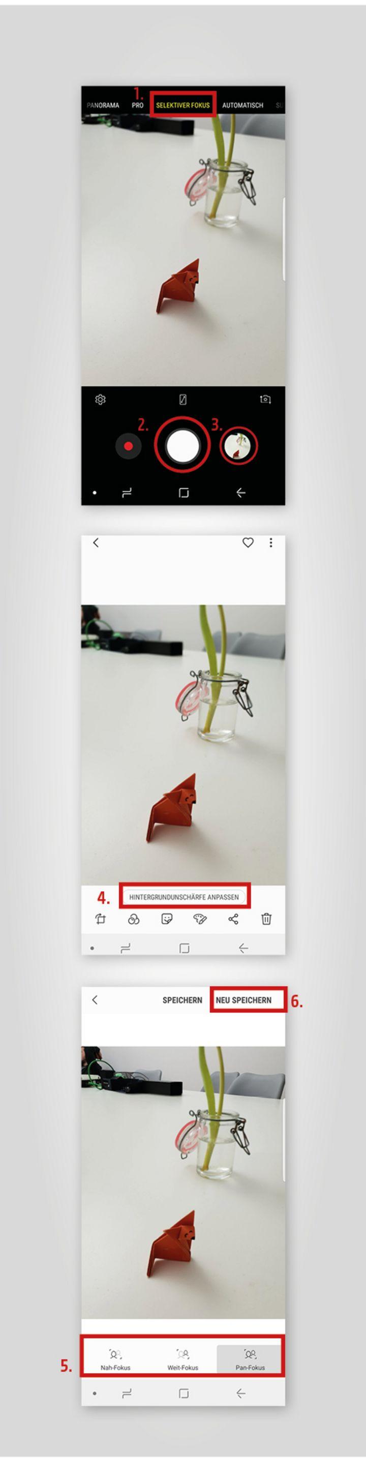 """Mit dem Modus """"selektiver Fokus"""" kann am Samsung Galaxy S9 die Tiefenschärfe in einem Foto auch nachträglich noch geändert werden"""