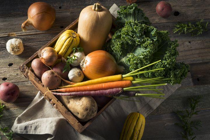 Gemüse und Obst im Winter.