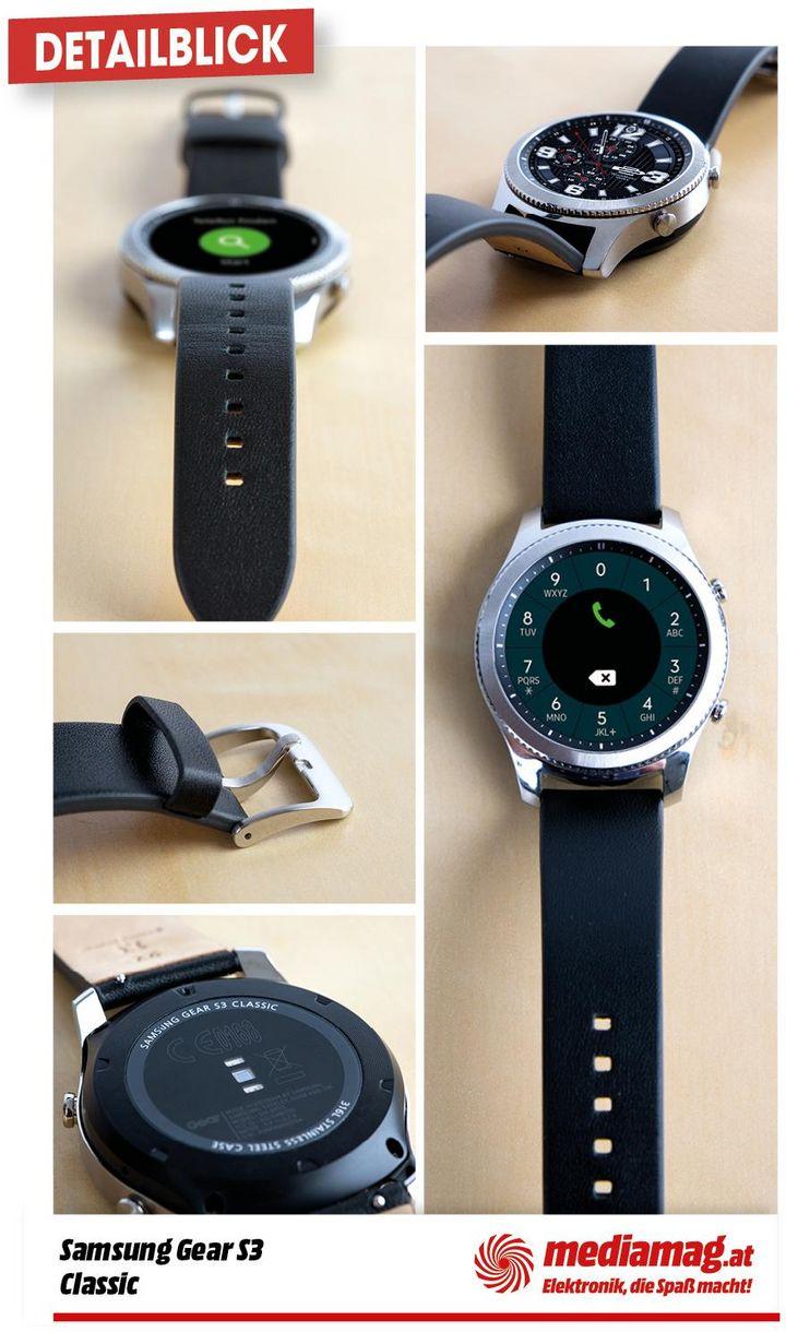 Mit ihrem Edelstahl-Gehäuse, den seitlichen Bedientasten und dem hochwertigen Armband aus Leder geht vor allem die Classic-Version der Smartwatch locker auch als mechanischer Chronometer durch.