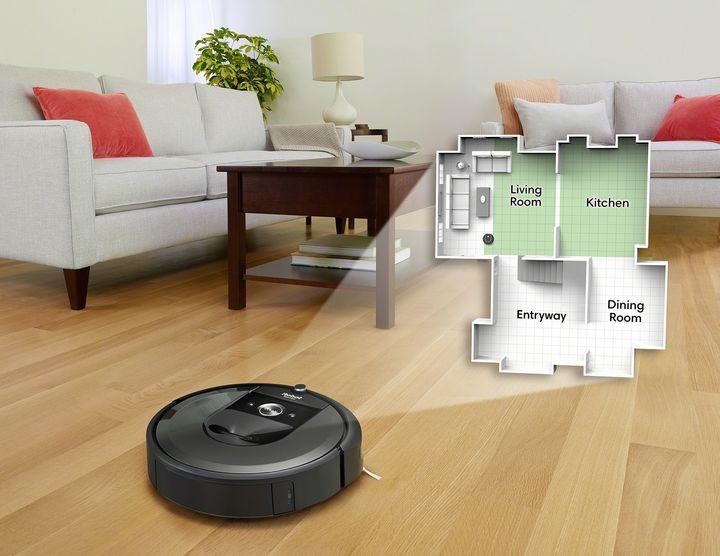 """Per """"Smart Mapping"""" merkt sich der """"iRobot Roomba i7+"""" Grundrisse und Raumnamen für spezielle Reinigungsaufgaben."""