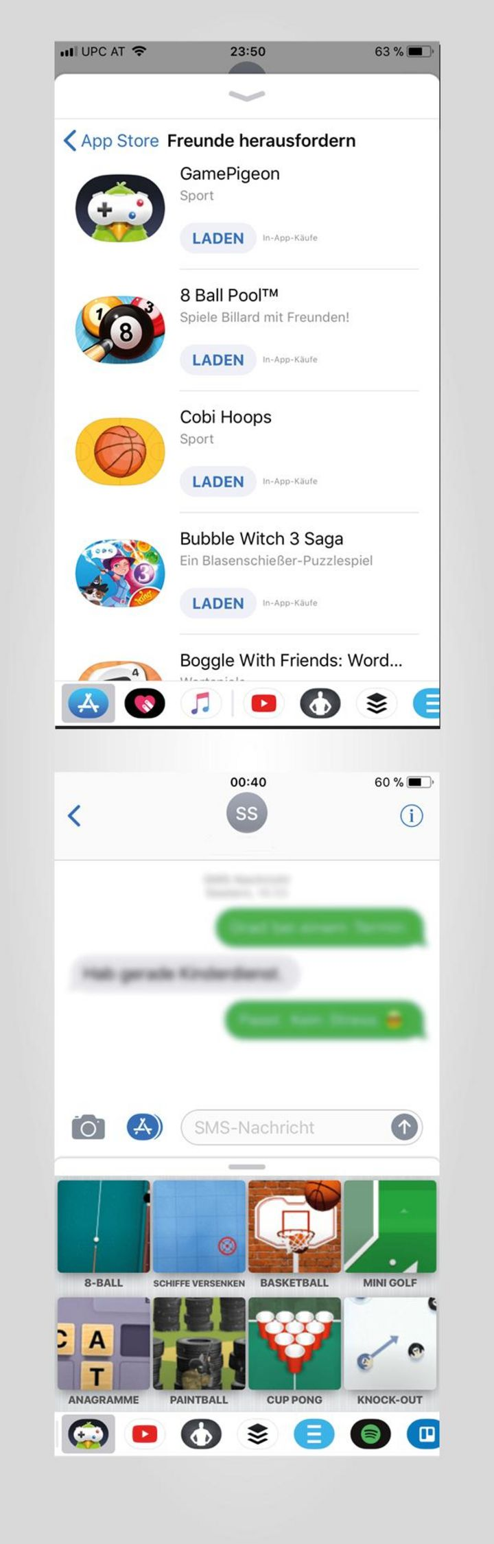 Über Apples Messenger-App kann man mit Freunden coole Games spielen.