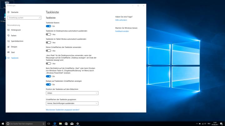 Diese Einstellungen bietet die Taskleiste unter Windows 10.