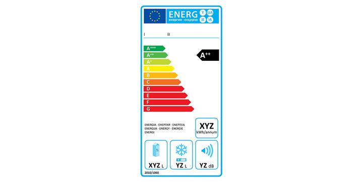 """EU-Kühlschrank-Energielabel """"alt""""."""