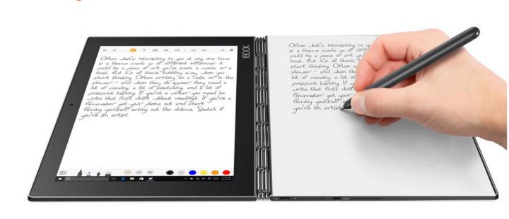Der smarte Stift überträgt die eigene Mitschrift in Echtzeit aufs Display.