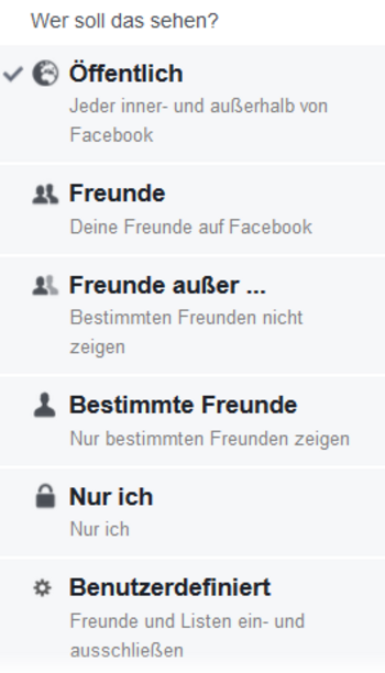 Facebook-Posts: Sichtbarkeits-Einstellungen