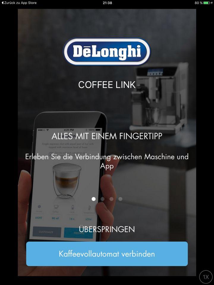Die App muss sich mit dem Kaffeevollautomaten verbinden
