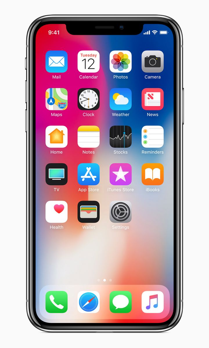 "Der Homescreen des ""iPhone X""."