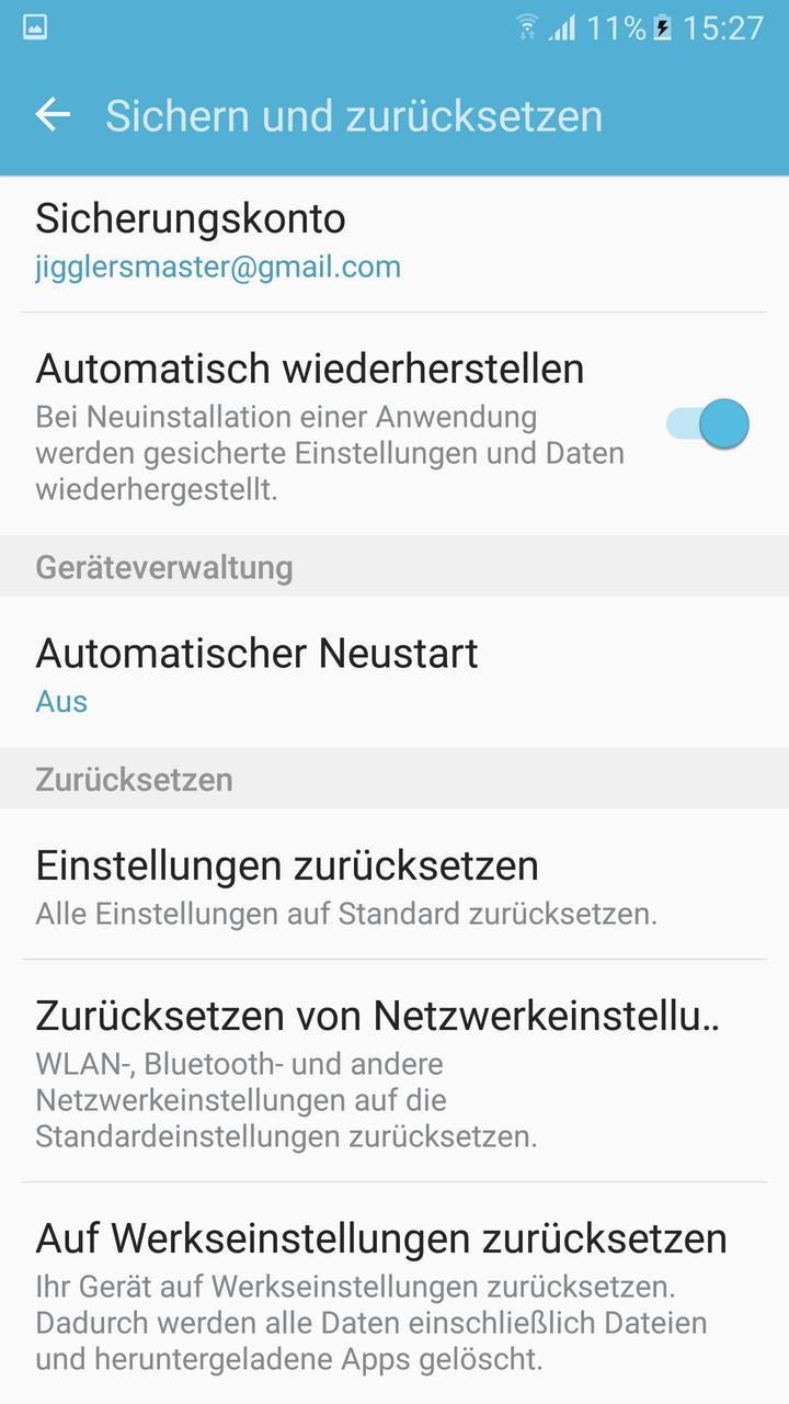 Ein Screenshot des Werkseinstellungsbildschirm