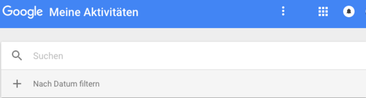 """Als ersten Schritt meldet man sich mit den Google-Zugangsdaten auf der Seite """"Meine Aktivitäten"""" an."""