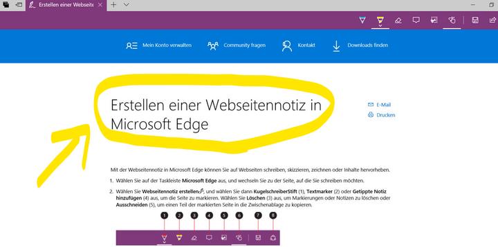 """Neue Funktionen von """"Microsoft Edge""""."""