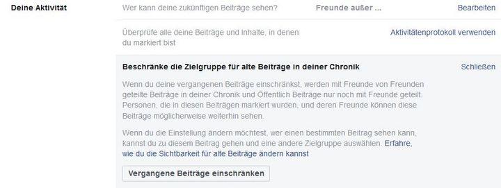 Privatsphären-Einstellungen bei Facebook.