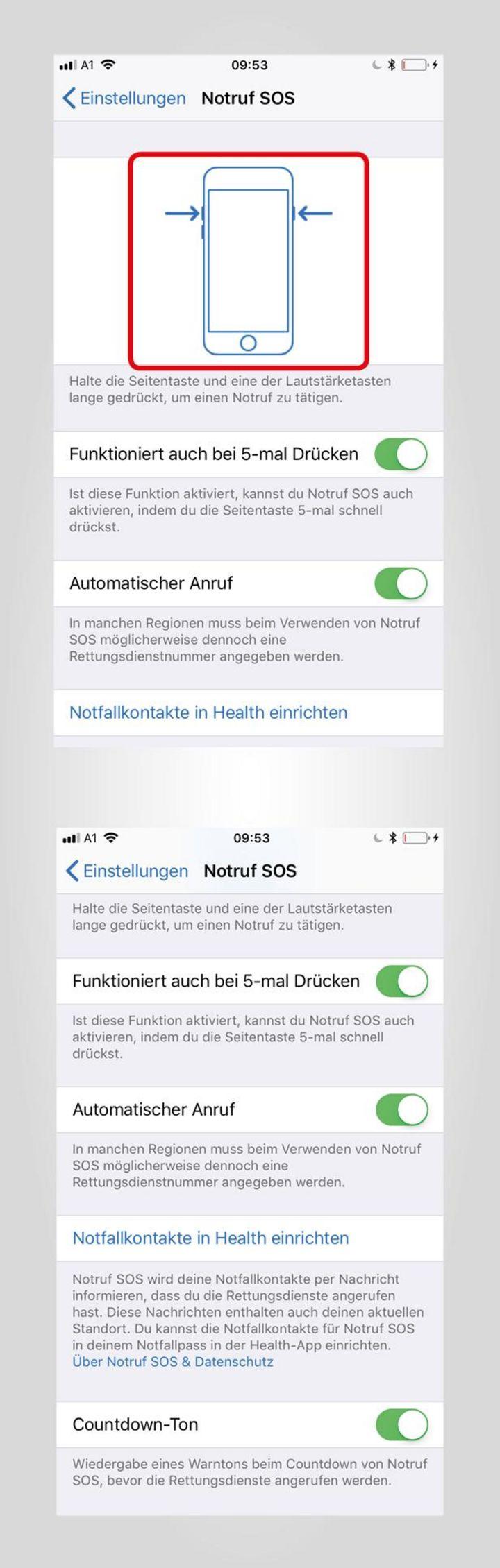 """So verwendet man die Funktion """"Notruf SOS"""" auf dem iPhone 8."""
