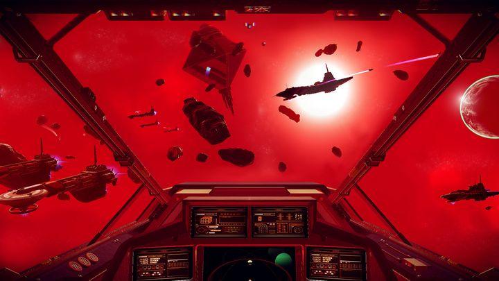 Der Blick vom Cockpit des Raumschiffes in den Weltraum.
