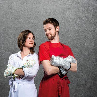 """Eva Fischer und Kevin Ilse treten bei """"Spaß á la carte"""" im MediaMarkt Floridsdorf gegeneinander an."""