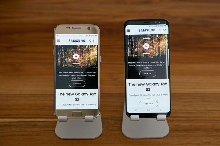 """Das Samsung """"Galaxy S8"""" im Einsatz."""