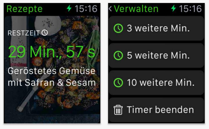 Green Kitchen auf der Apple Watch.
