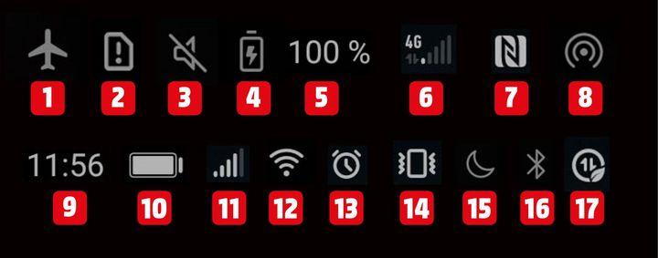 Das bedeuten die einzelnen Symbole der Statusleiste bei Android-Handys.