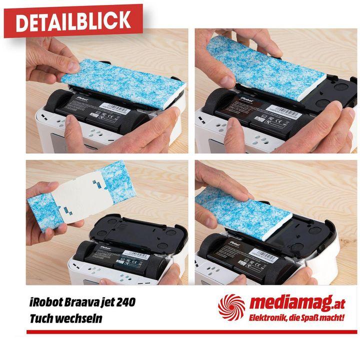 Die Reinigungstücher werden mittels einfachem Klick-System an der Unterseite des kleinen Saubermachers fixiert und können mit wenigen Handgriffen getauscht werden.