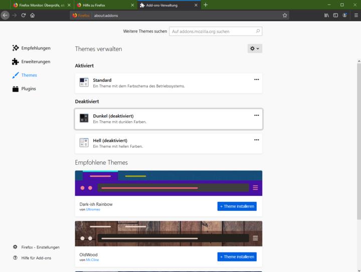 Themes passen den Browser optisch an.