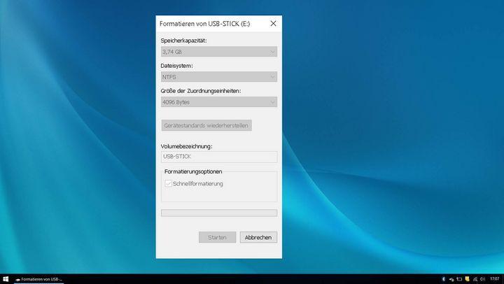 So formatiert man den Stick mit NTFS