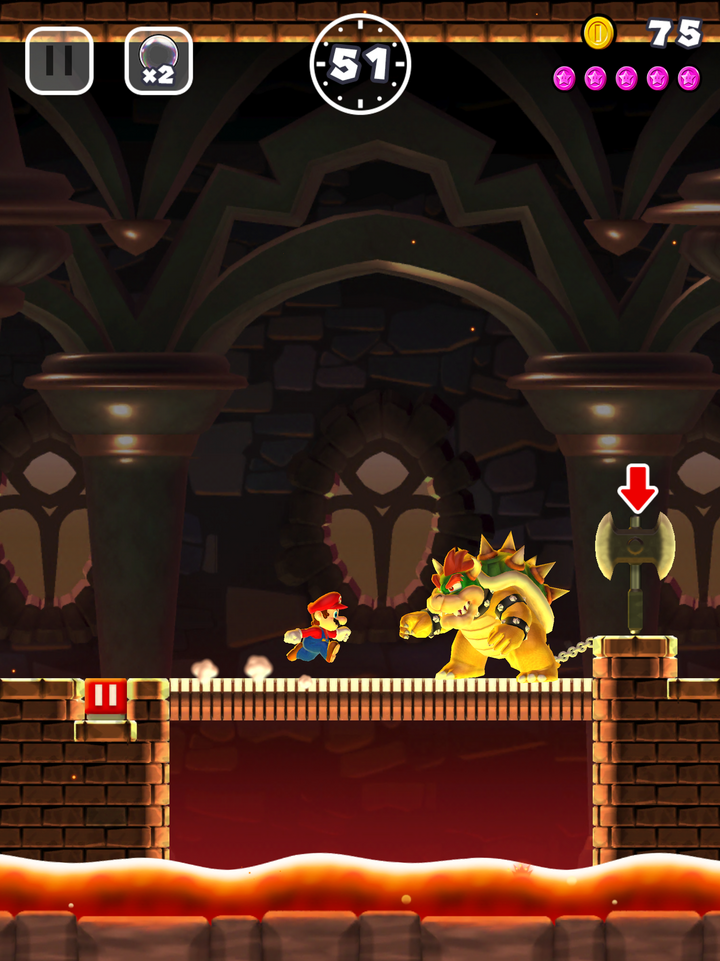 "Bowser und Mario in ""Super Mario Run"""