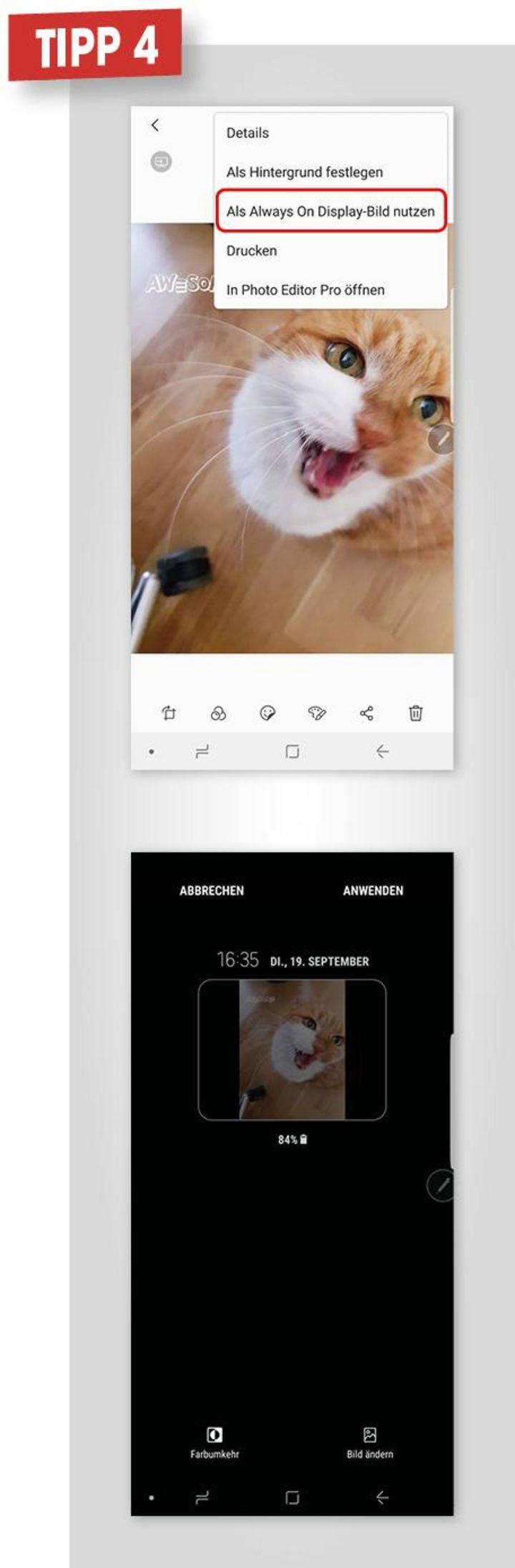 4. Foto auf Always On Display speichern