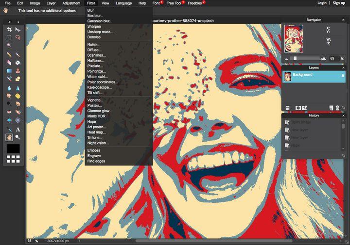 Pixlr Editor dient der Bildbearbeitung direkt im Browser.