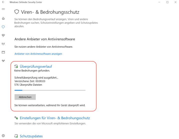"""Im """"Windows Defender Security Center"""" kann eine Systemüberprüfung gestartet werden."""
