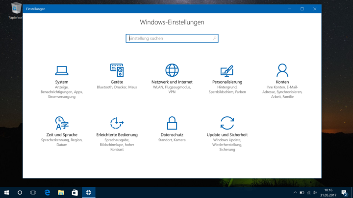 Windows 10 Systemeinstellungen.